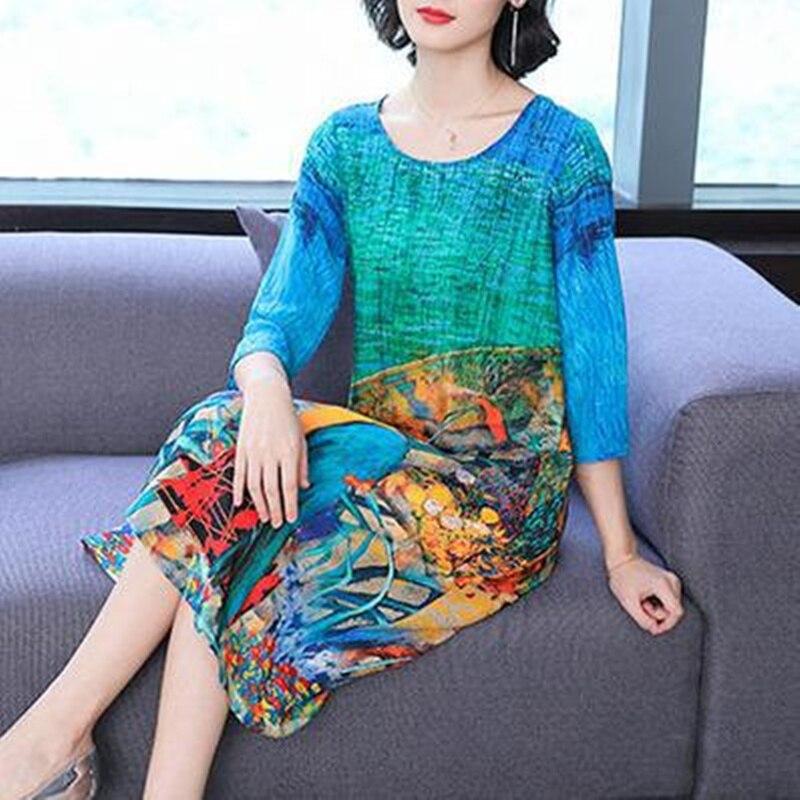 Silk Dress 2019 Spring New Women's O-neck Color Summer Dress Large Size M-4XL High Quality Loose Elegant Party Beach Vestidos