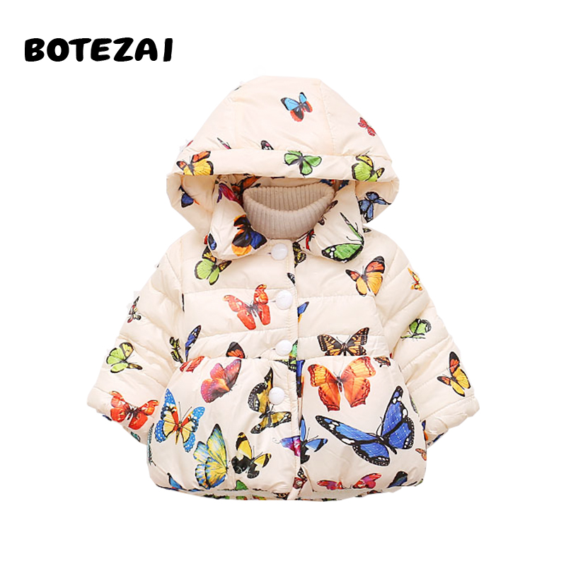 BOTEZAI Baby Girls Butterfly Print Hoodies Jacket & Coat Autumn & Winter Children Girls Clothes Kids Toddle Outerwear Warm Coat