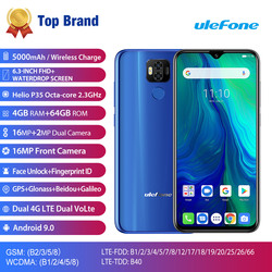 Перейти на Алиэкспресс и купить 2019 new ulefone power 6 6350mah mobile phone android 9.0 pie 6.3дюйм. fhd mt6765v octa core 4gb+64gb 16mp nfc 4g bt 5.0 smartphone