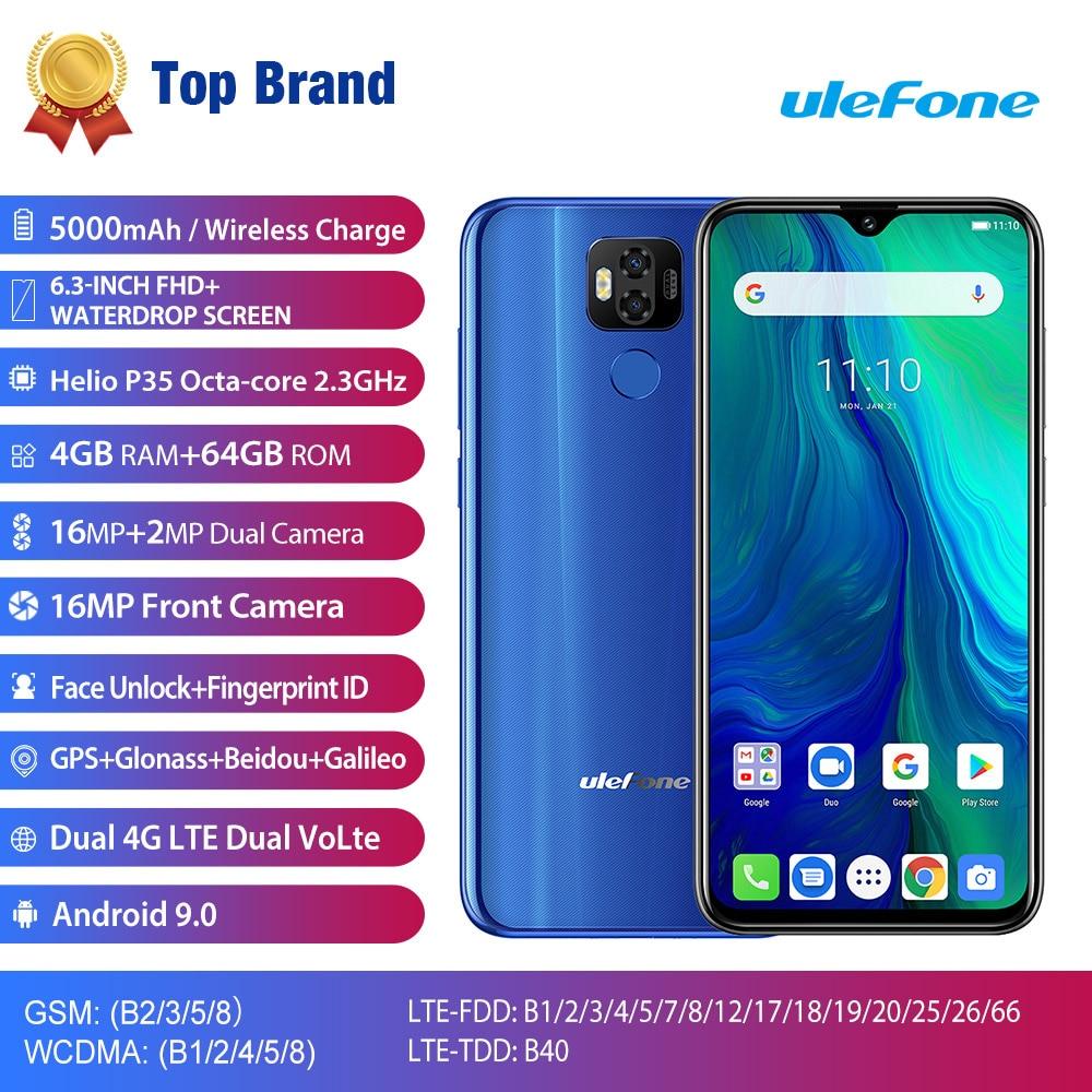"""2019 NUOVO Ulefone di Alimentazione 6 6350 mAh Del Telefono Mobile Android 9.0 Torta di 6.3 """"FHD MT6765V Octa Core 4 GB + 64 GB 16MP NFC 4G BT 5.0 Smartphone"""