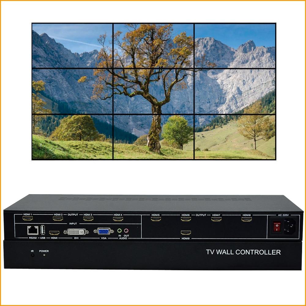 9 Channels TV Wall Controller 3x3 2x4 4x2 HDMI DVI VGA USB Video Processor TV Splicing Box With RS232 Control