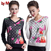 2016 Autumn Winter Women Fashion Loose Comfortable Wool Sweater V Neck Long Sleeve Floral Print Sweater