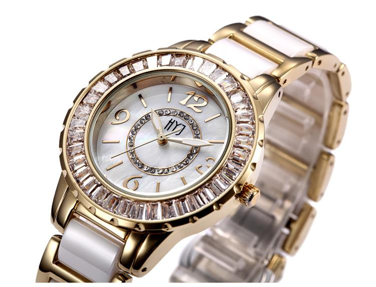Fashion Ceramic Band Gold Women Girl Watch Diamond Bling Vintage Bracelet Quartz Wrist Watch Shock Resist