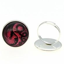 Handmade Rings 20mm Round Yin And Yang Dragon And Phoenix Glass Cabochon Rings Jewelry Dropshipping Gift For Girl new portable milligram digital scale 30g x 0 001g electronic scale diamond jewelry pocket scale home kitchen