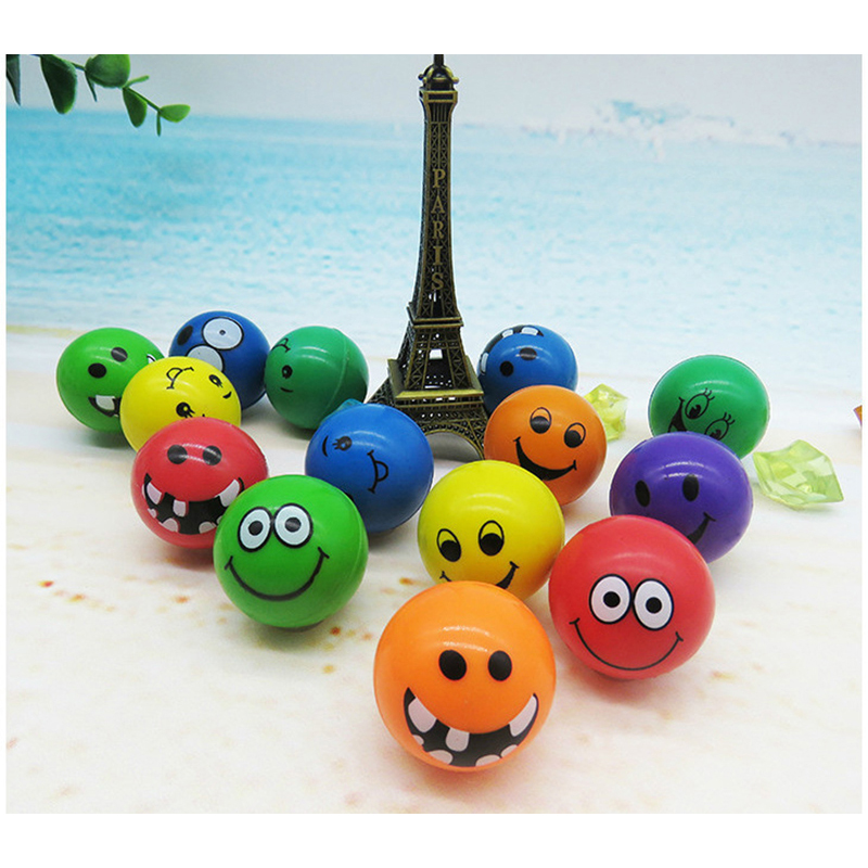 100pcs Children Toy Ball Colored Bouncing Ball Rubber Outdoor Toys Kids Sport Games Elastic Smiley face Juggling Jumping Balls