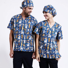 New hospital nurse lady with men's short sleeve medical clothing surgery isolated medical uniform scrub suit, LOWLUV