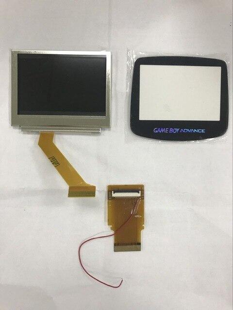 Pour GameBoy avance écran LCD pour GBA SP AGS 101 écran de mise en évidence LCD rétro-éclairage klit plus lumineux câble ruban + couvercle en verre