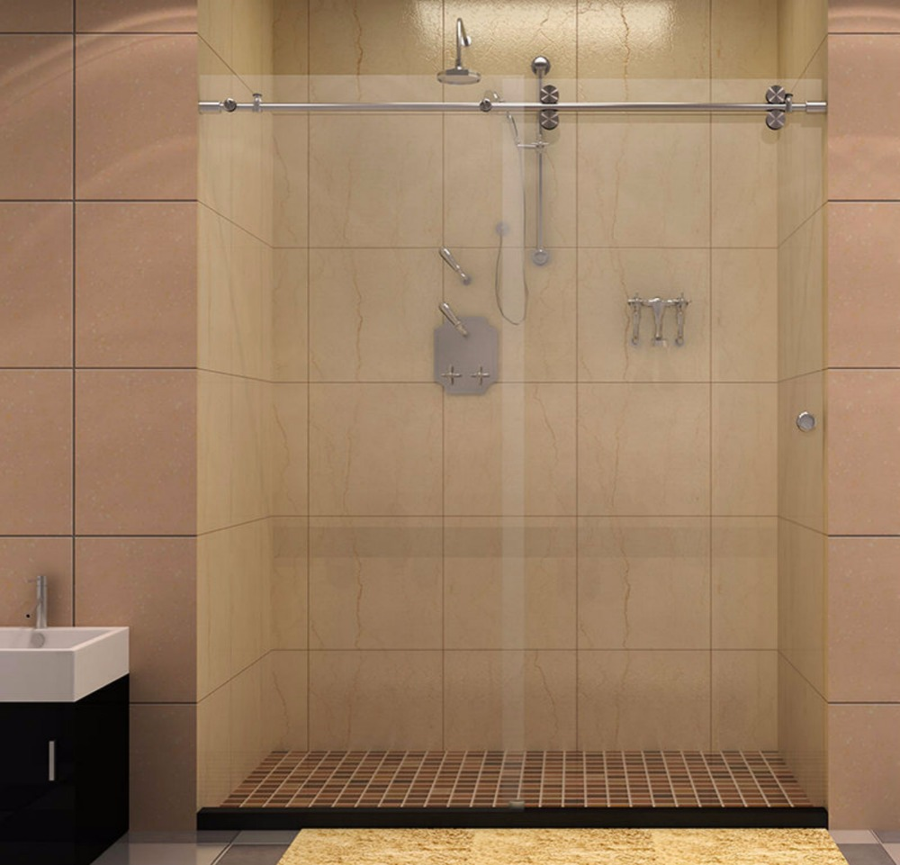 6.6FT Frameless sliding glass shower door track barn shower door ...
