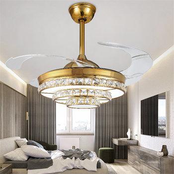 42 Inch Ceiling Fan With Light | QUKAU European Invisible Fan 42 Inch Ceiling Fan Lamp Light Dimmable Remote Control Pendant Lighting Crystal
