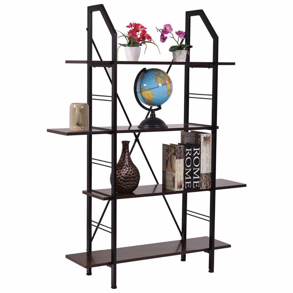 Goplus 4 слоев деревянной полке хранения Организатор стеллаж домашнего офиса мебель новая современная организовать кабинет HW52821