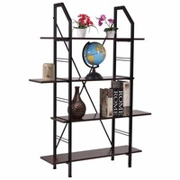 Goplus 4 Layers Wooden Bookshelf Storage Organizer Display Rack Home Office Furniture New Modern Organize Cabinet