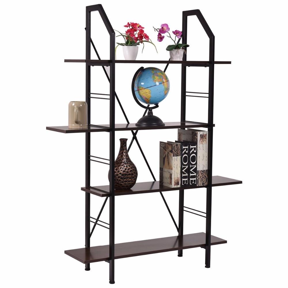 Exhibition Stand Organizer : Goplus layers wooden bookshelf storage organizer display