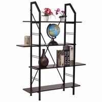 Goplus 4 Layers Wooden Bookshelf Storage Organizer Display Rack Home Office Furniture New Modern Organize Cabinet HW52821