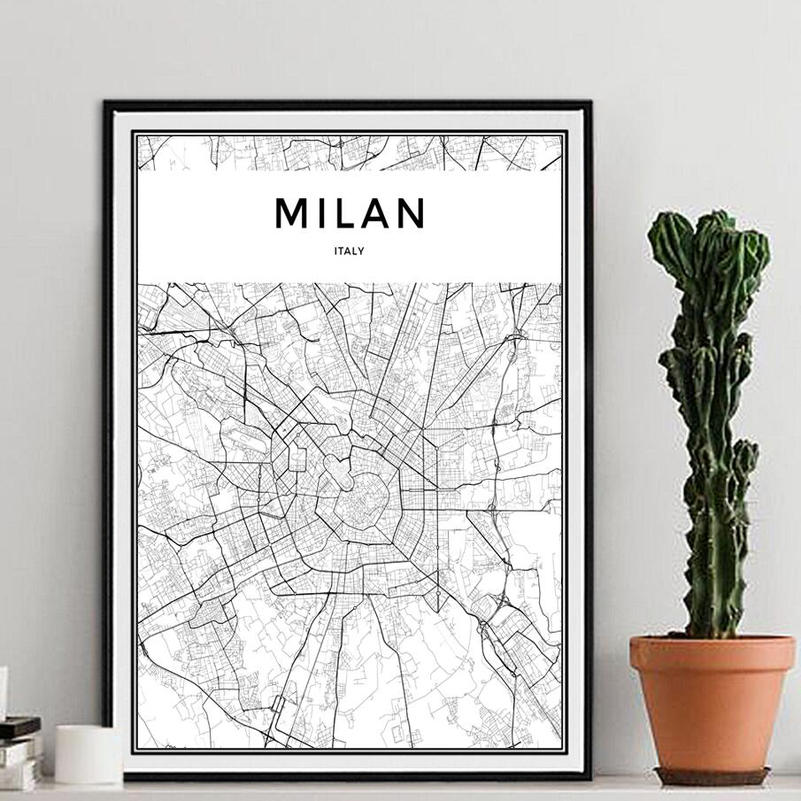 Modern Milan City Map Canvas Painting Black White A4 Posters Prints Wall Art Pictures For Living Room Nordic Home Decor No Frame