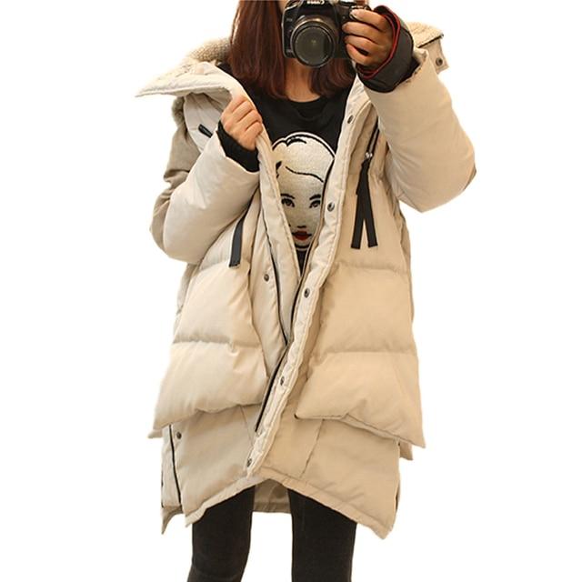 Thickening Hooded Parkas Fashion Winter Jacket Women Military Coat Slim Medium Long White Duck Down Jacket Snow Outwear Overcoat