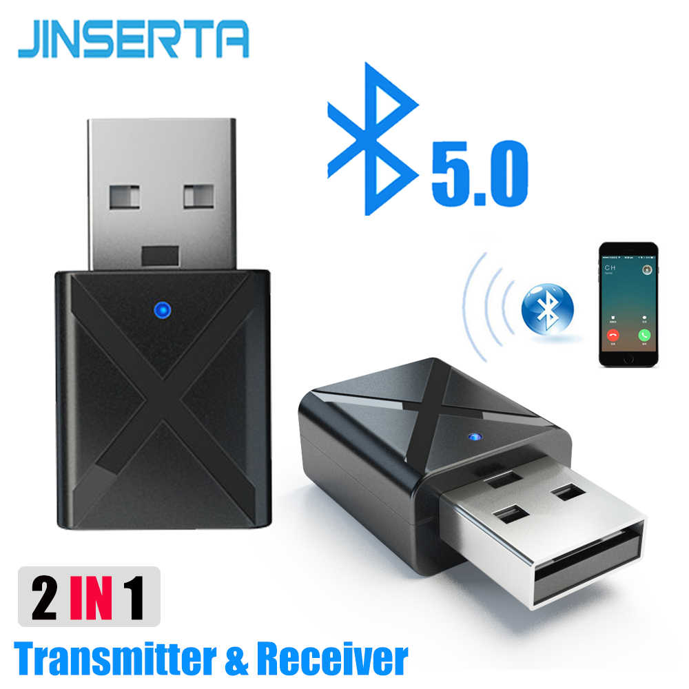 JINSERTA Car Bluetooth 5.0 Adapter 2-in-1 Wireless Transmitter Receiver Adapters Stereo Music AUX Audio Dongle for TV PC Speaker