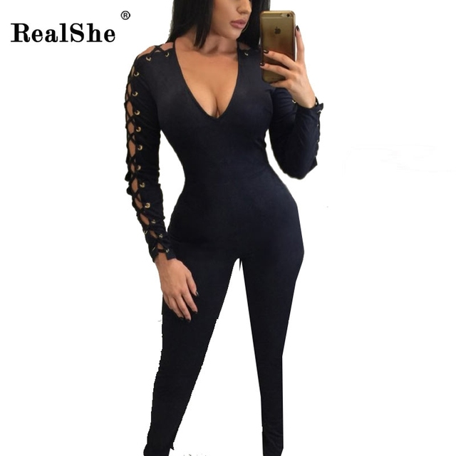 RealShe Black Lace Up Jumpsuits For Women 2017 V Neck Long Rompers Bodysuit Sexy Holes Bar Bodycon Harajuku Club Jumpsuit