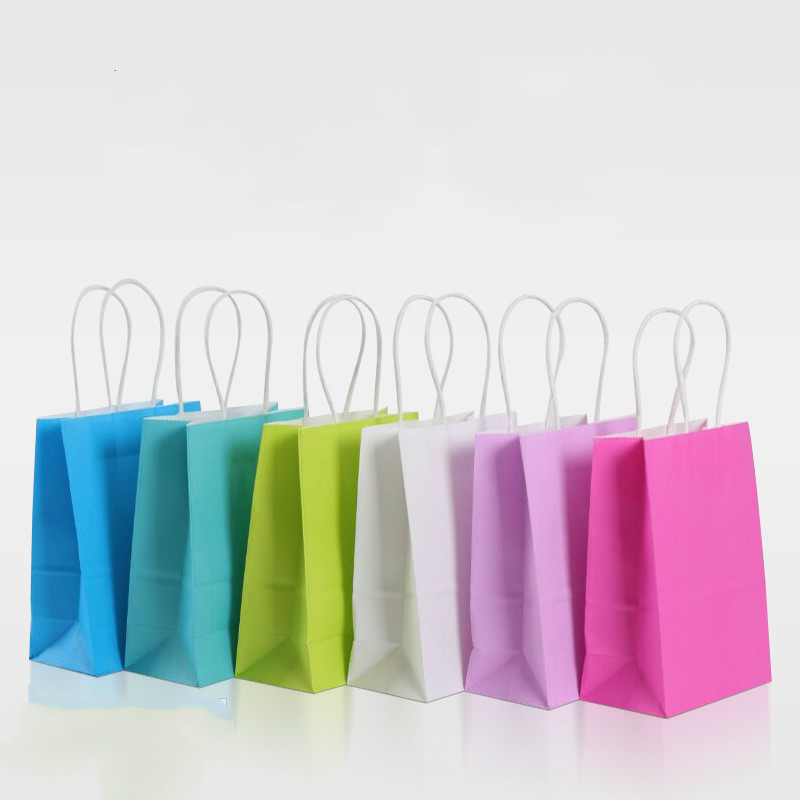 Us 14 99 24pcs Assorted Small Neon Colored Paper Gift Bags With Handles Kraft Party Birthday Wedding Favor Goo Bag In