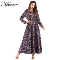 MISSJOY Fashion Print 2018 Autumn V Neck Full sleeve Dress Middle Eastern Swing Belt Ankle Length floral dresses Plus Size L 3XL