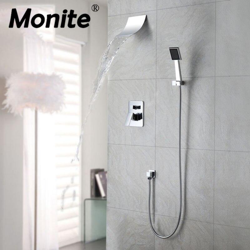 Mordern водопад смеситель для душа набор с ручным спрей хромированная отделка настенное крепление смесители хорошее качество