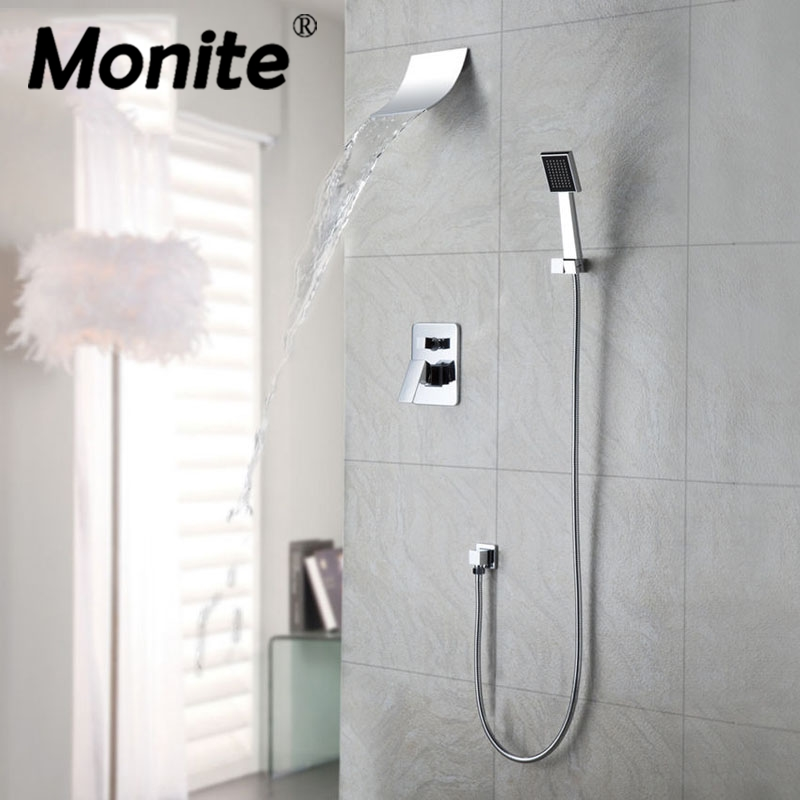 Mordern Waterfall Shower Faucet Set With Hand Spray Chrome Finish Wall Mount Shower Mixer Taps Good Quality wall mount 10 inch thermostatic bathroom shower faucet mixer taps dual handle with hand held shower chrome finish