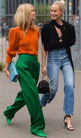 PADEGAO Green Long Wide Leg Pants For Woman Elegant Casual Trousers Loose Over Size 2018 High