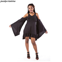 Jocelyn Katrina Brand Black Bat Sleeve Open Back Ruffle Hem Dress Women Casual Round Neck Long