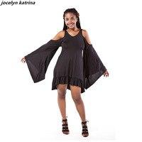Jocelyn Katrina Brand Black Bat Sleeve Open Back Ruffle Hem Dress Women Casual Round Neck Long