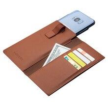 QIALINO funda tipo billetera de cuero genuino para Samsung Galaxy ys8 +, Funda de cuero genuino con ranura para tarjetas