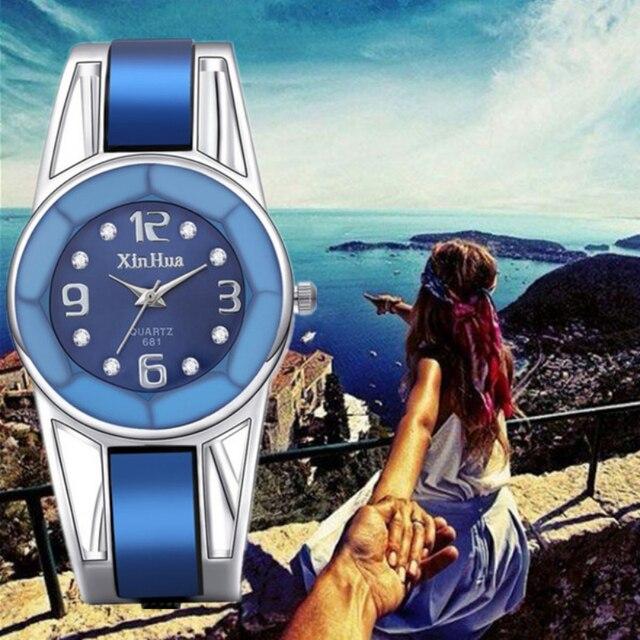 Топ Роскошный горный хрусталь смотреть Для женщин Часы Нержавеющаясталь женские часы Женские часы Saat Relogio feminino Montre Femme