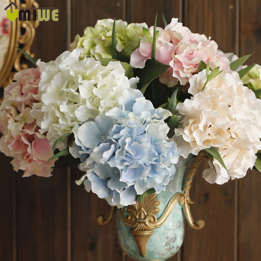5 Heads Real Touch Artificial Fake Silk Flower Hydrangea Leaf Artificial Flowers Silk Bouquets For Home Party Wedding Decoration