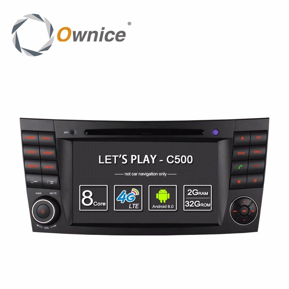 4 Г SIM <font><b>LTE</b></font> Android 6.0 Quad Core 1024*600 Dvd-плеер Автомобиля для Mercedes E Class W211 W209 W219 WI-FI Радио GPS 2 ГБ RAM 16 ГБ ROM