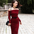 Le Palais Vintage Essential 2017 Spring New Arrival Jujube Red Slash Neck Long Sleeve Women Knitting Dresses Slim Pencil Dress