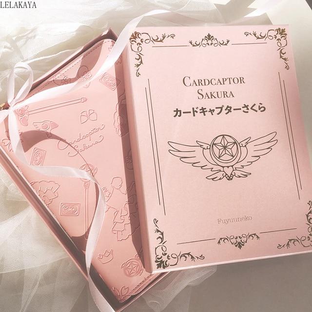 بطاقة الآسر ساكورا أنيمي شخصيات الحركة المطبوعة الإبداعية ورقة دفتر صغير الكرتون الوردي سستة كتاب غطاء معدني أقلام هدية دمية