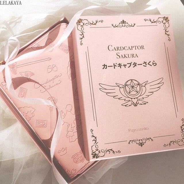Captor de carte Sakura Figure daction Anime imprimé créatif papier cahier Mini dessin animé rose fermeture éclair livre couverture métal stylos cadeau poupée