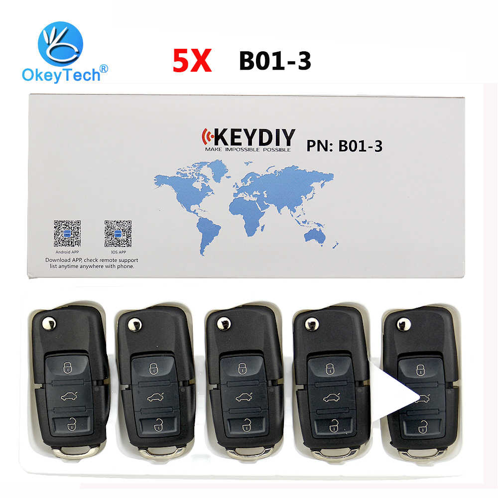 OkeyTech 5pcs/lot B01 KD Key 3 Button Auto Car Remote Control Key B Series For KD900 KD900+ URG200 Keydiy Key Programmer For VW