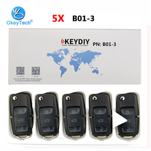 OkeyTech clé télécommande automatique à 3 boutons, 5 pcs/lot, B01 KD programmateur de clé pour voiture, pour KD900, KD900 + URG200, pour VW