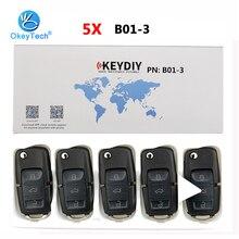 OkeyTech llave de Control remoto de coche serie B, 5 unidades/lote, B01, 3 botones, KD, para KD900, KD900 + URG200, programador de llaves Keydiy para VW