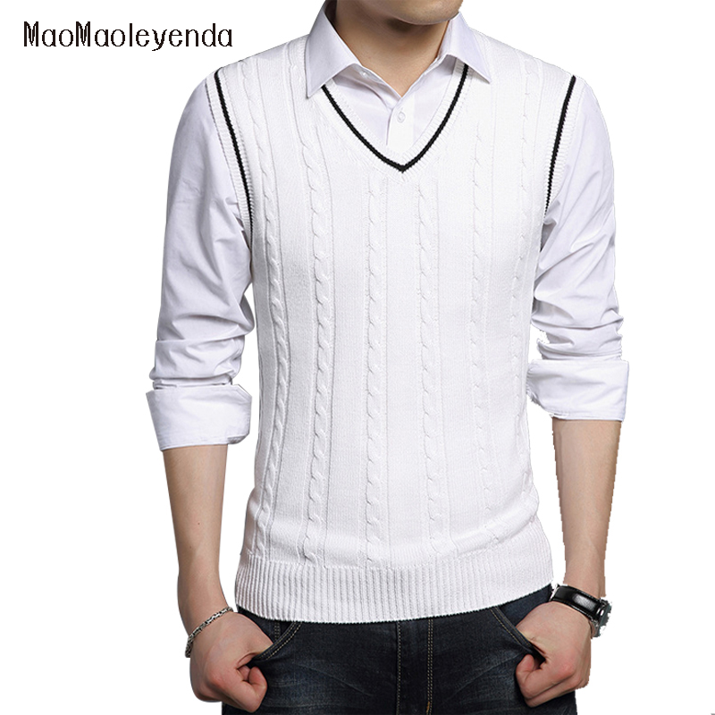 High quality autumn knitted cotton sweater Men s warm Christmas sweater casual V neck sleeveless sweater