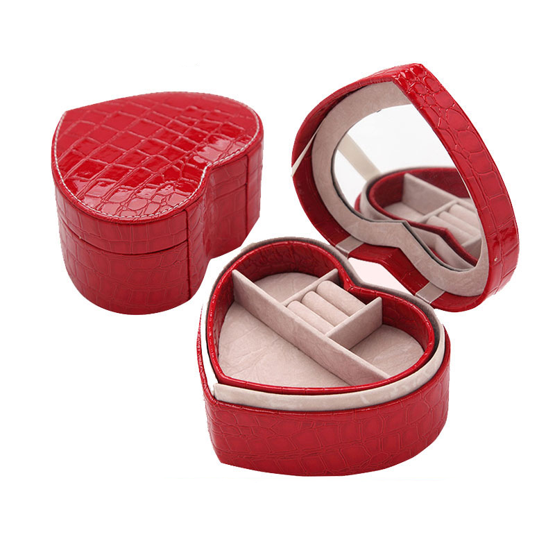 Eco-friendly PU Heart-shaped Jewelry Box Colorful Jewel Case Storage Dressing Box For Birthday Gift 1 Piece Free Shipping