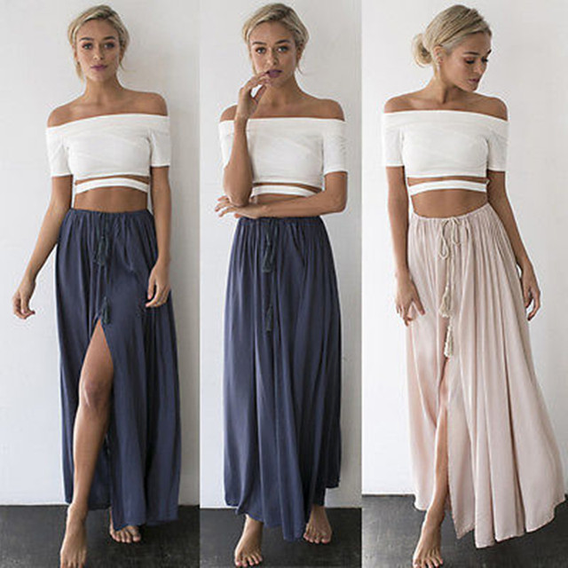 28e6c40543f Fashion Women s Summer Long Skirts Boho Casual Long Maxi Casual Loose Beach  Skirts (no tops)