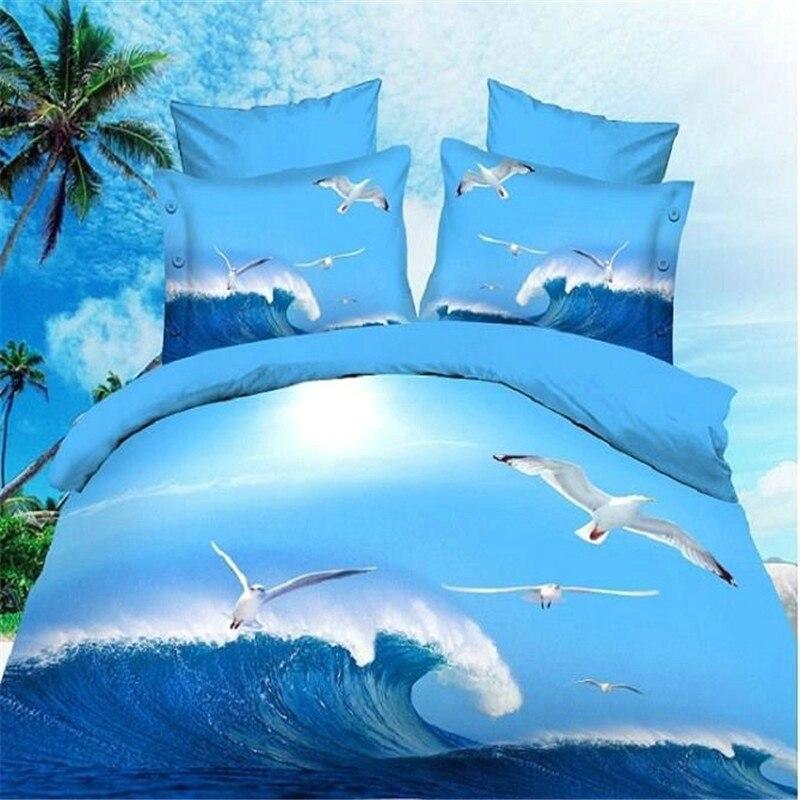 Реактивной 3d пейзажа кроватка постельных принадлежностей одеяло/Doona простыней наволочки 4 шт. queen size бархатистой постельное белье