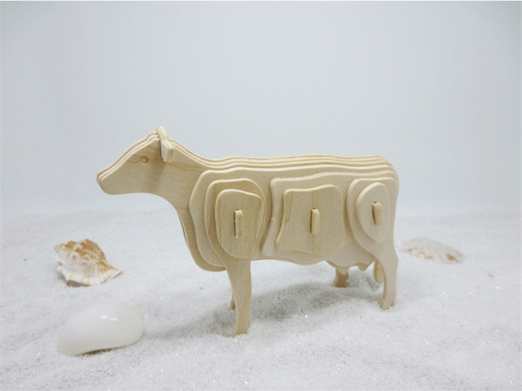 DS263 2017 Newly Arrived Wooden 3D Puzzle Toys Cow Animal Shaped Jigsaw for Elementary Students Free Shipping Russia Italy USA ds381b wooden 3d army puzzle toy model anti air vehicles diy assemble toys boys free shipping usa brazil