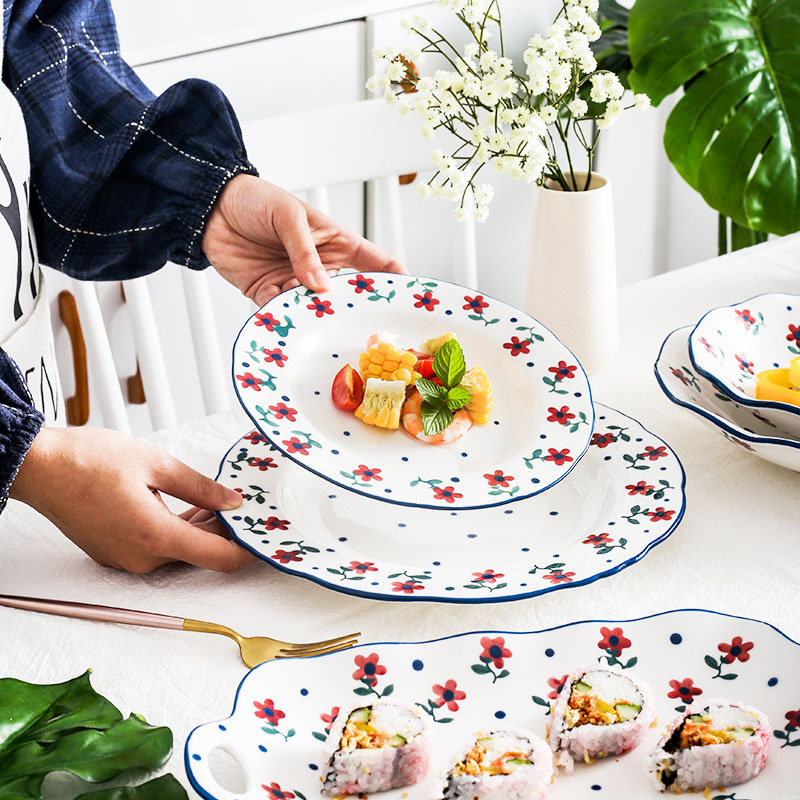 Kinglang Japanese Hand Made Safflower Ceramic Tableware Family