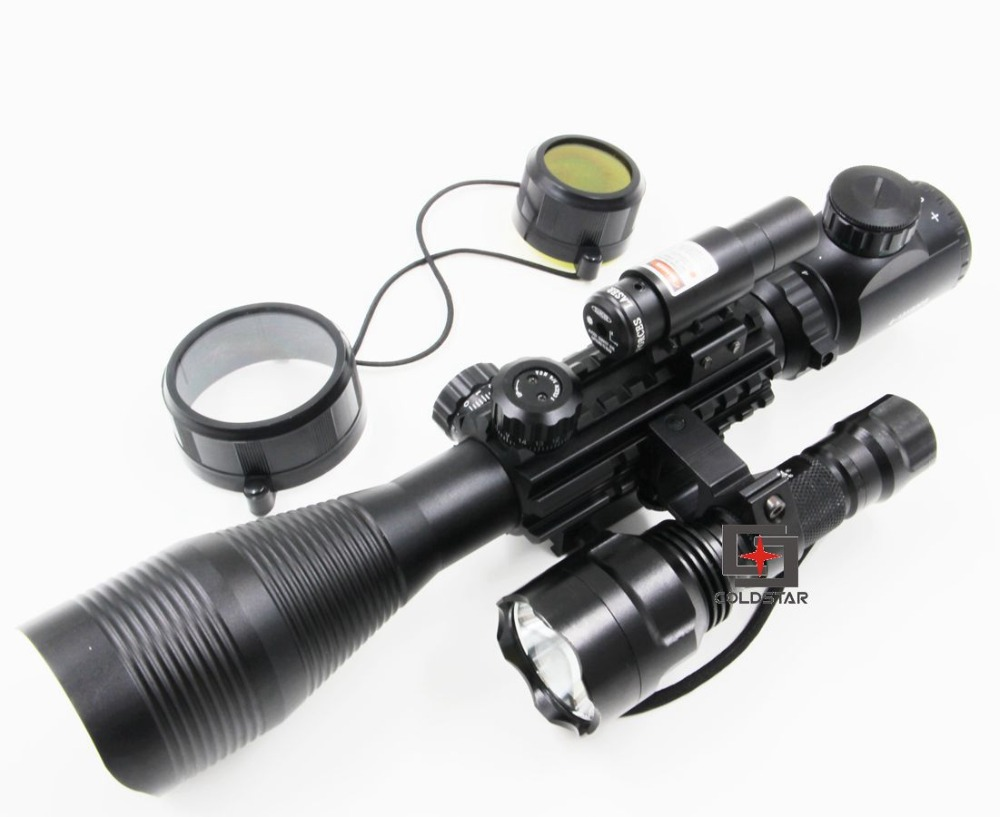 C4-12x50EG Hunting Tactical Rifle Gun Scope + Laser Sight + CREE T6 LED Flashlight 5Mode C8 Torch Flash Light Riflescope Combo xl nxf rg 5mw green laser gun sight w weaver mount led flashlight black 3 x cr 1 3n