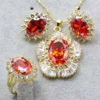 Otogo Transing Fashion Jewelry sets Złoty Kolor Multi Color Roślin Kształt Kryształowe Kolczyki/Naszyjnik/Pierścień dla Kobiet Najlepsze prezent Party