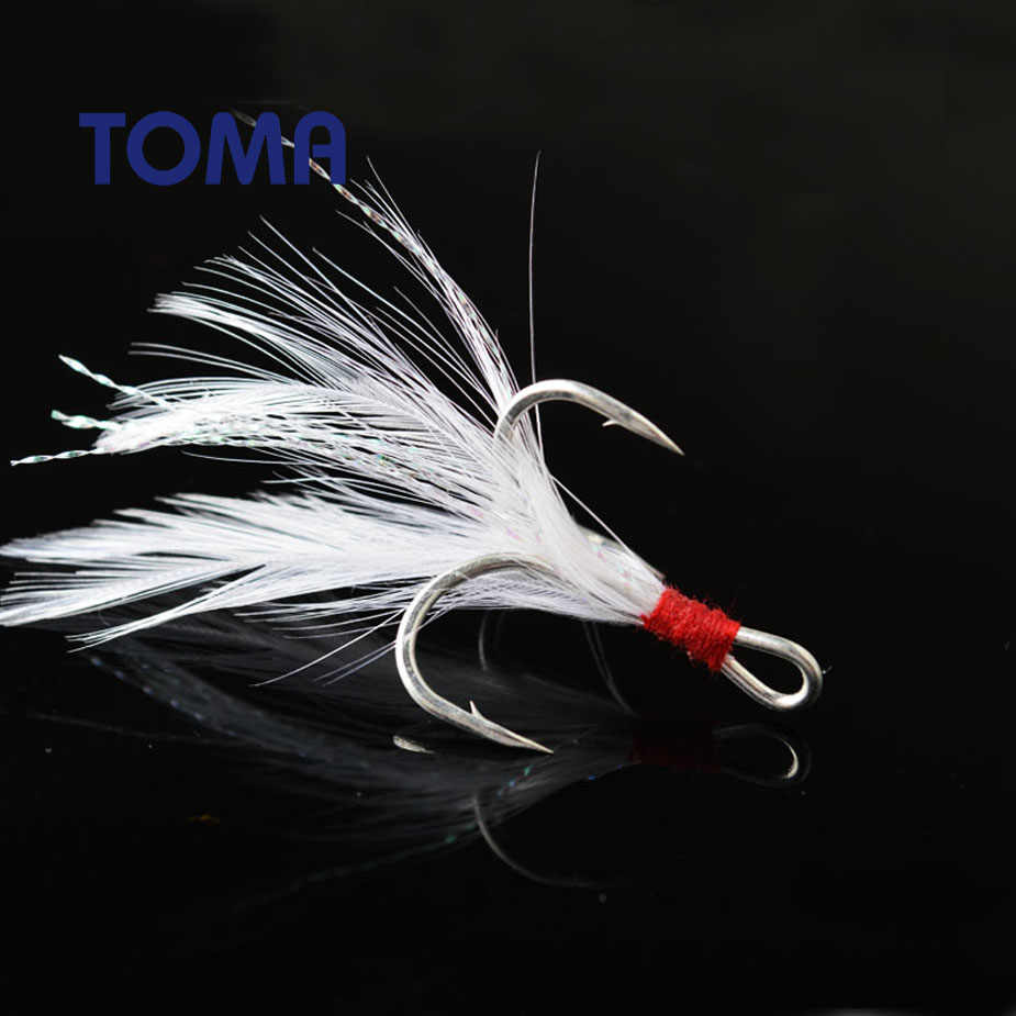 TOMA 10pcs High Quality Fishhook Feather Fishing Hook High Carbon Steel Treble Hooks 1 2 4 6 8 10# Strong Sharp Barbed Hook