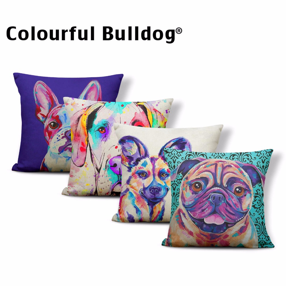 Lovely Dog Cushion Cover Colored Oil Painting French Bulldog Pug Pillowcases Boxer Dog Siberian Husky Throw Pillow 43*43cm Decor