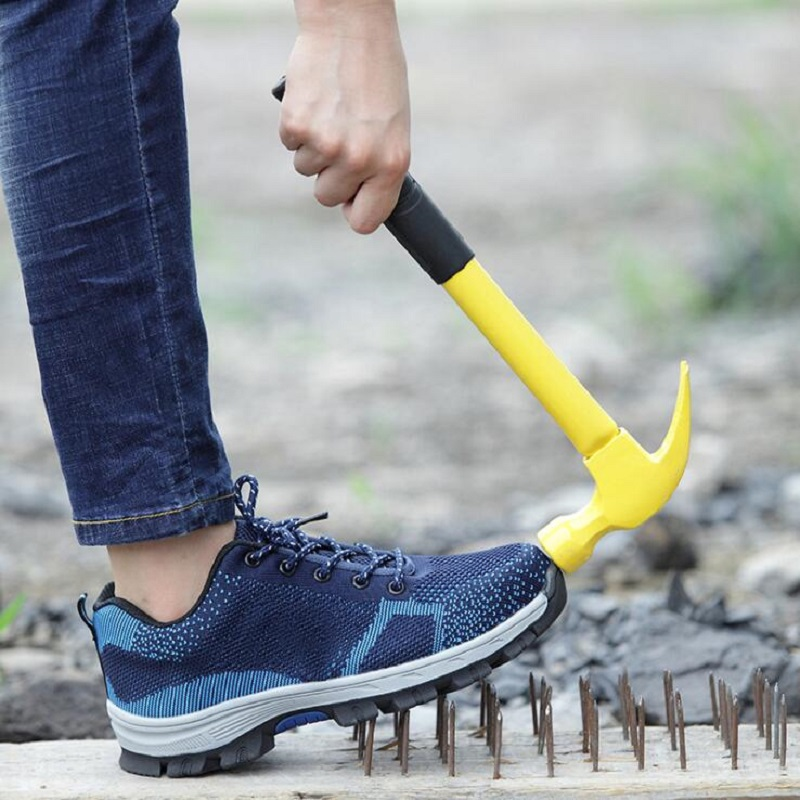 AMSHCA tamaño grande 45 46 47 48 hombres zapatos de seguridad de trabajo de construcción de acero punta botas de tobillo transpirable suave Indestructible zapatos
