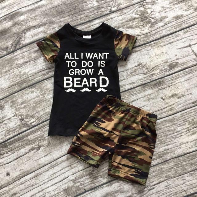 """Conjuntos de roupas de bebê novo do menino camuflagem preta """"crescer uma barba"""" calções boutique de roupa bonito do verão roupas ningbo empresa do bebê desgaste dos miúdos"""